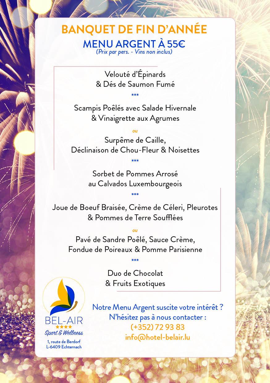 Banquet de Fin d'Année - Menu Argent