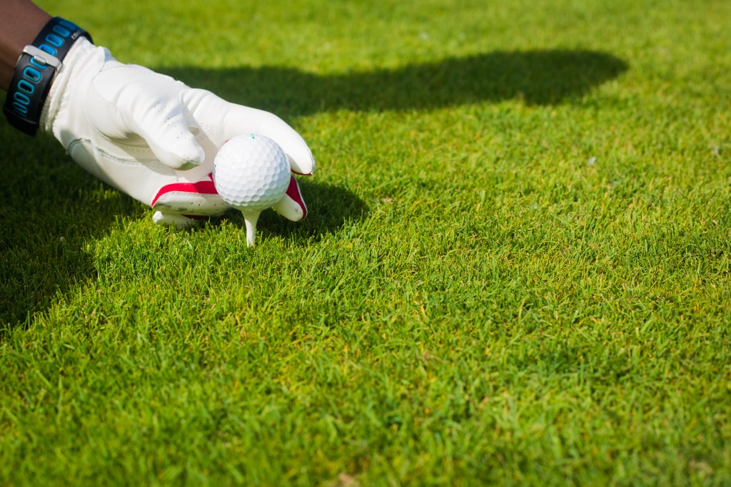 Hand hold golf ball with tee on course, close up - sarymsakov.com